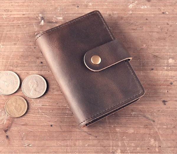 new arrival lady men unisex vertical short card holder casual vintage, crazy-horse split cowhide leather free shipping