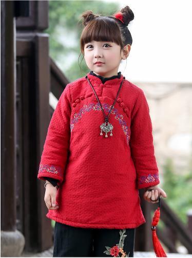Girls dress cheongsam winter wind with new year's new year China child children Baby Costume winter clothes