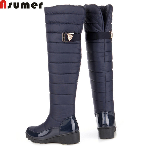 Wholesale-ASUMER 2016 new fashion keep warm snow boots fashion platform over the knee high boots women fur winter boots long shoes woman
