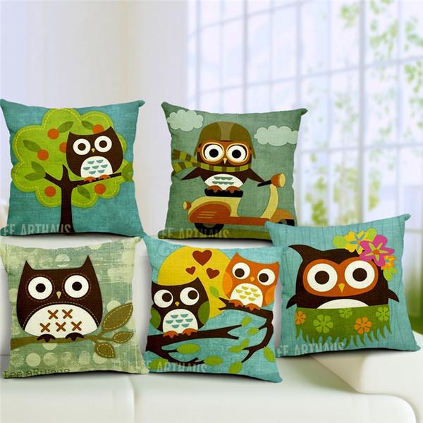1 Pcs Cotton Linen Square Design Throw Pillow Case Decorative Cushion Cover Pillowcase Cartoon Owls Design Different Style to Choose