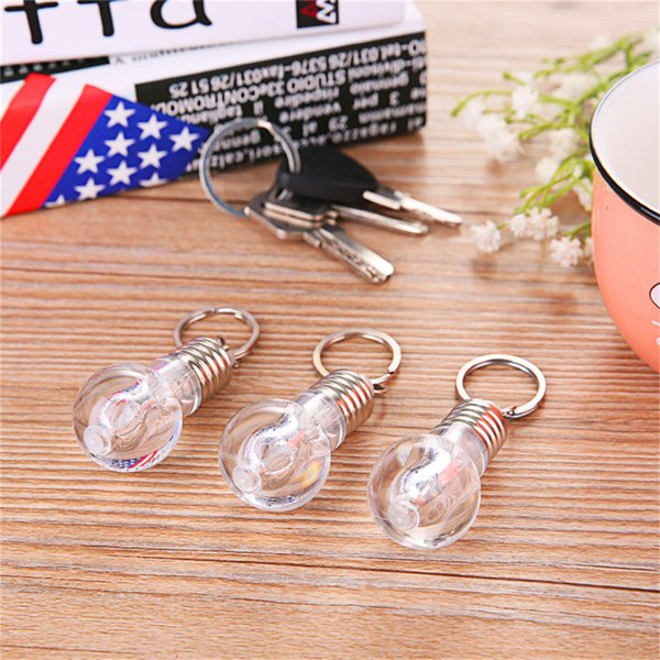 Bright Creative LED Colorful Flash Lights Mini Bulb Torch Keyring Xmas Cute Keychain Keyring Clear Lamp Jewelry