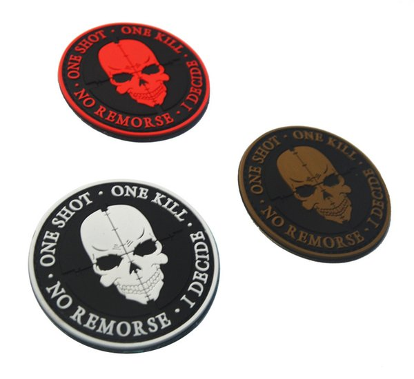 top popular 30pcs punisher Rubber One Shot One Kill Patch 3D PVC Skull Tactical Patches Morale Armband Hook Army Combat Badge free ship 2019