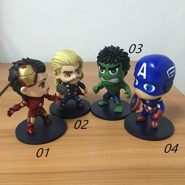 2017 New anime figure PVC doll toys The Avengers Hulk Iron Man Batman Spider-Man Captain America Hawkeye 11CM A17043022