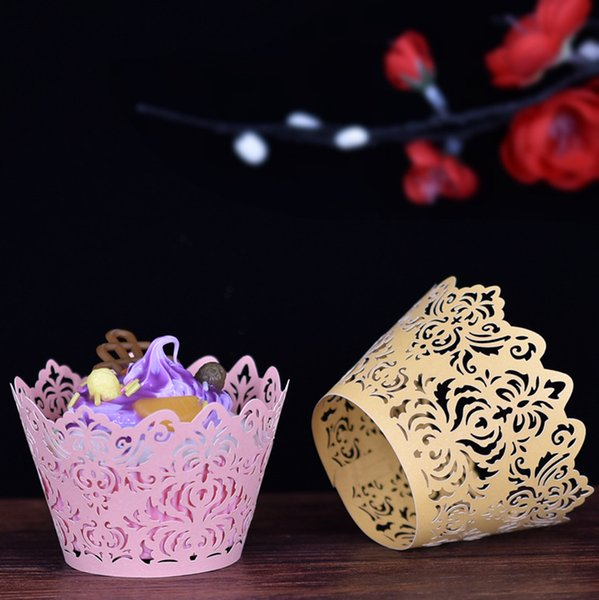 50pcs/lot free shipping Laser Cut Wedding Cupcake Wrappers Baking Cakes Wrappers lace design Birthday Party Cake decoration