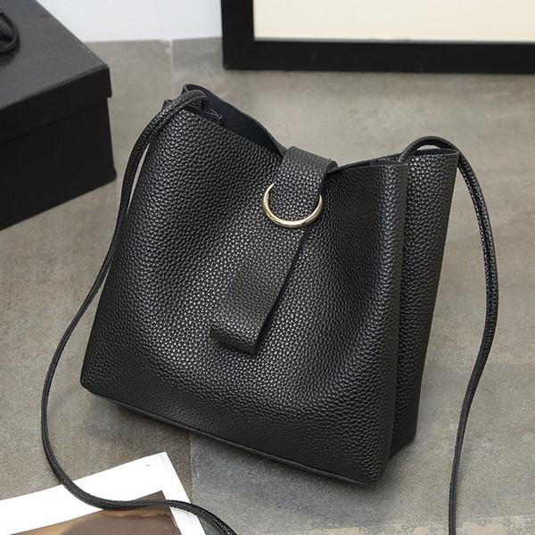 2016 weiße Frauen Plain Kordelzug Rosa Schwarz 2017 Neue Koreanische Tasche Paket von Große Kapazität Einfache Allgleiches Eimer Trend Tragbare Xiekua