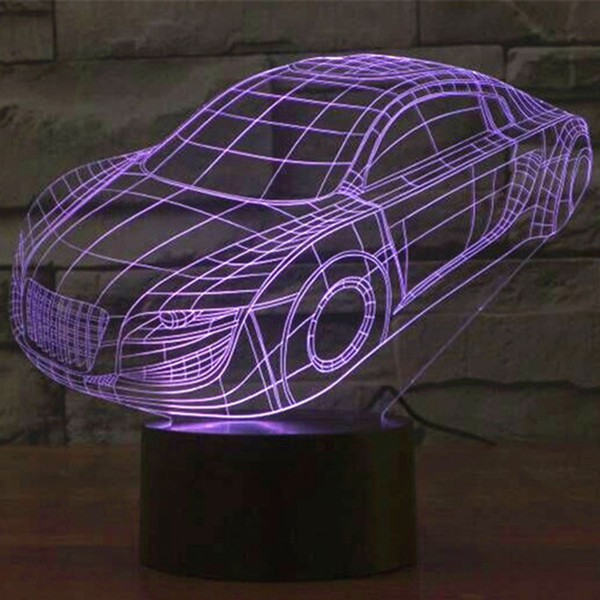 3D Night Light,Stunning Visual Car Three-Dimensional Effect USB Powered,Touch Switch,7 Colors Changes Creative Design Desk Lamp