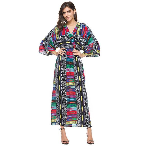2017 Yeni Geliş İmparatorluğu Bohemian Yaz Plaj Elbiseleri Bayanlar Afrika Ulusal Desen Baskı Derin V Yaka 3/4 Batwing Kollu Elbise