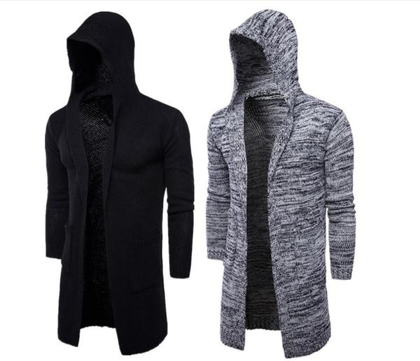 Venda quente Europeu Americano Preto Longo Trench Coats dos homens Por Atacado Na Moda Casacos Com Capuz Oversize Feiticeiro Capa Frete Grátis