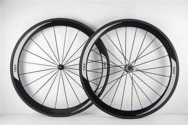 White logo 50mm carbon wheels