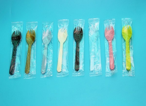 wholesale 3000pcs Disposable Plastic Cake Spoon Dessert Fork Four Fork And Spoon Independent Packaging cute