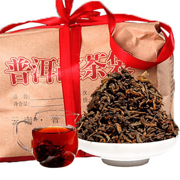 top popular Hot sales 500g Ripe Puer Tea Yunnan Classic Flavor Puer Tea Organic Natural Cooked Pu'er Oldest Tree Black Puer Tea Gift packaging 2019