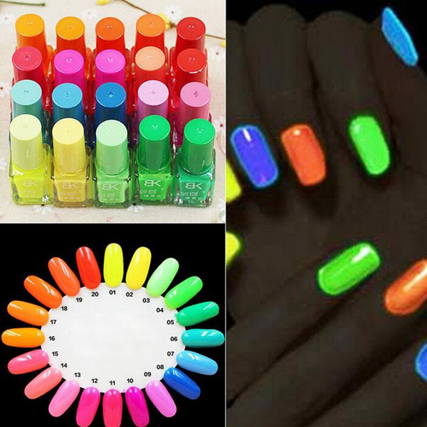 top popular Hot Sell 20 Candy Color Fluorescent Neon Luminous Gel Nail Polish for Glow in Dark Nail Varnish Manicure Enamel For Bar Party ZA1668 2021