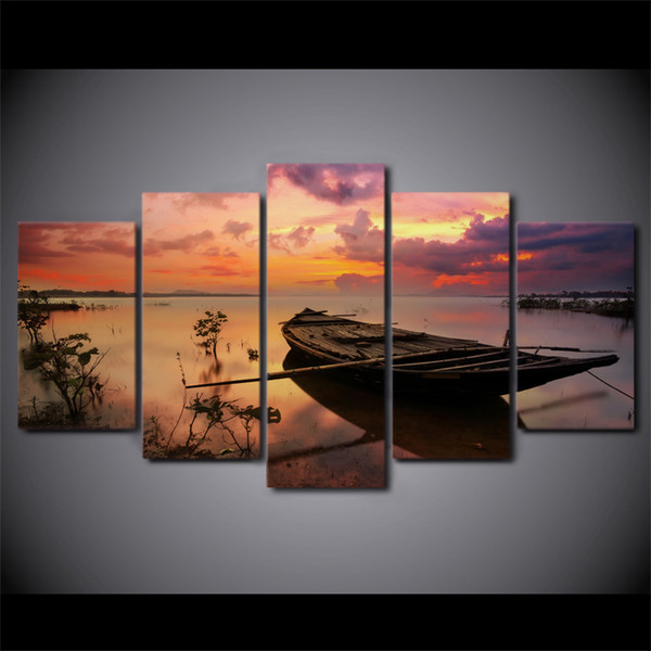 5 Pcs/Set Framed Printed Sunset Boat Silence Lake Poster Modern Home Wall Decor Canvas Picture Art HD Print Painting