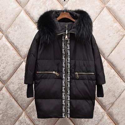 Korean fashion women's loose letter print natural fox raccoon fur hooded palazzo duck down parka medium long coat casacos SMLXL