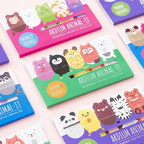 best selling Wholesale- Korean Stationery Lovely Animal memo pad sticky notes kawaii stickers planner Bookmark Subsidies office supplies BinFen