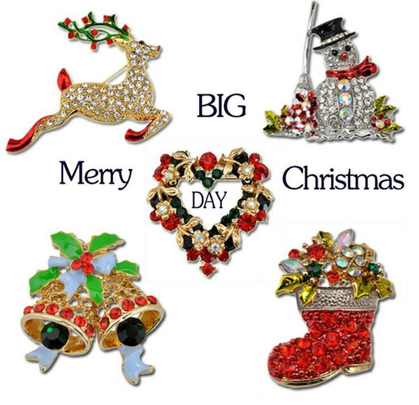 20Pcs Christmas Brooch Rhinestone Crystal Brooches Jeweled Bell Snowman Deer Brooch And Pin Clothes Decor Christmas Gifts 2017 Hot Style