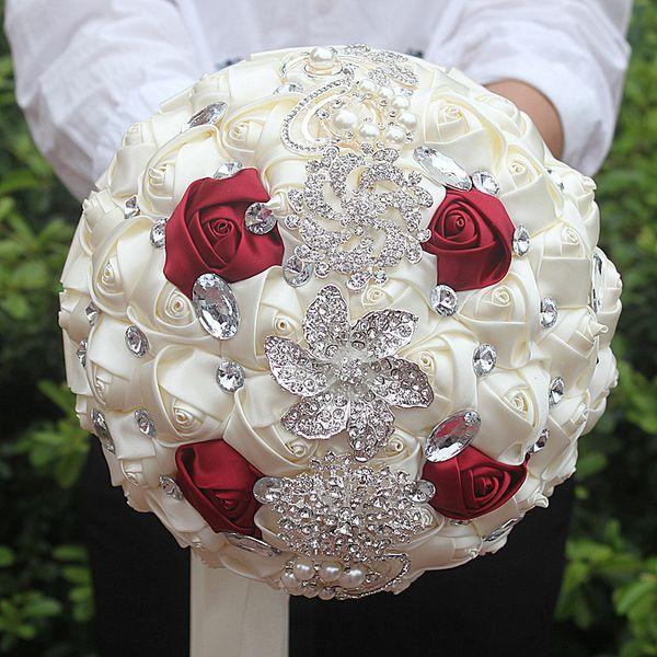 Acheter Vin Blanc Mariage Rouge Bouquet De Mariee Simulation Fleur Fournitures De Mariage Fleur Artificielle Cristal Doux 15 Bouquets De Quinceanera
