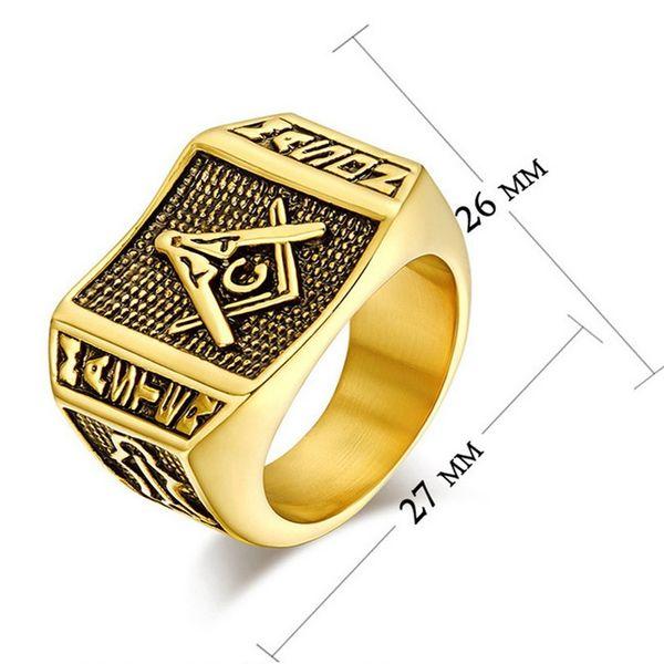 Hot Sale Retro Fashion 24K Gold Plated Freemason Signet Ring Jewelry Size: 7/8/9/10/11/12/13 Mix Order