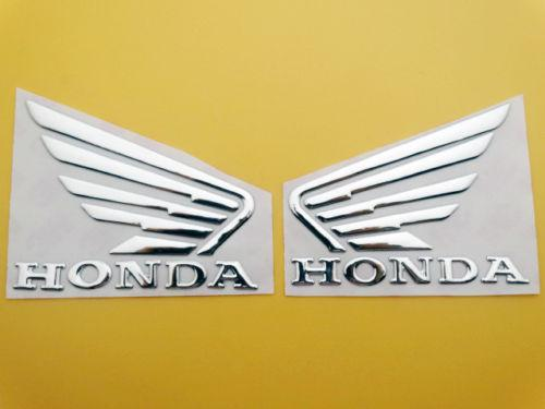 best selling Motorcycles 3D Silver Gel Rubber Tank Emblems Decal Sticker for Honda Wing Set