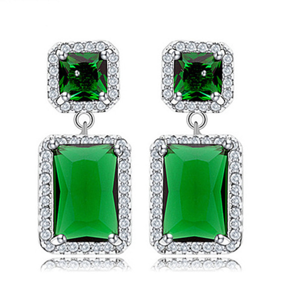 Two Square Dangle Earrings White Blue Green ColorsEuropean Women Elegant Crystal Cubic Zircon Wedding Jewelry Wholesale