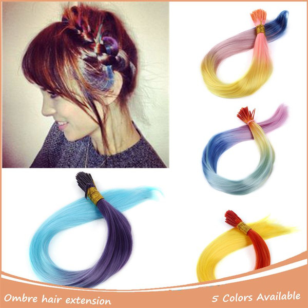 Wholesale- 10pcs/Lot I-tip Rainbow Hair Straight Hair Extension Colorful Loop Grizzly Hairpiece Quality Cosplay Costumes Hair Feathers