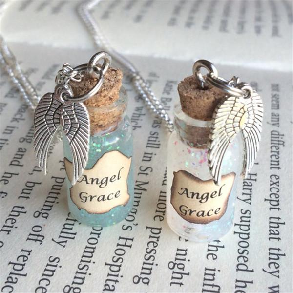 3cdca8291e 12 pçs / lote anjo graça pingente de colar de garrafa inspirado por  sobrenatural