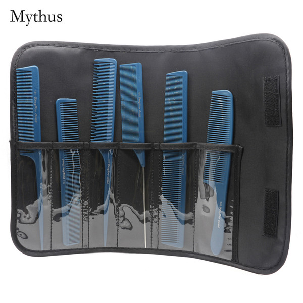 Blue 6 Piece Professional Barber Hair Cutting Comb Antistatic Carbon Haircut Comb Set Tail Comb For Hair Stylist In Good Quality