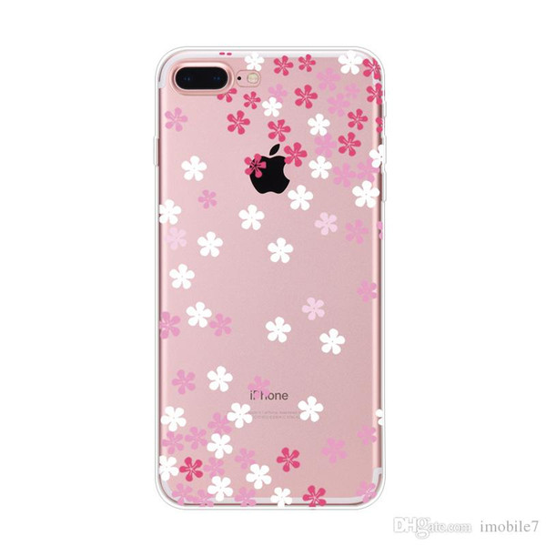 Watercolor Butterfly Pink Love Heart Case For iphone 6 6s plus 5.5 Transparent Silicon Protective Cell Phone Cases Cover