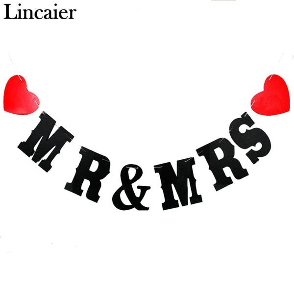 Toptan-Lincaier Damat ve Gelin Kağıt Sadece Evli Düğün Banner Garland Bunting Olaylar Parti Dekorasyon Malzemeleri Kırmızı Aşk Kalp