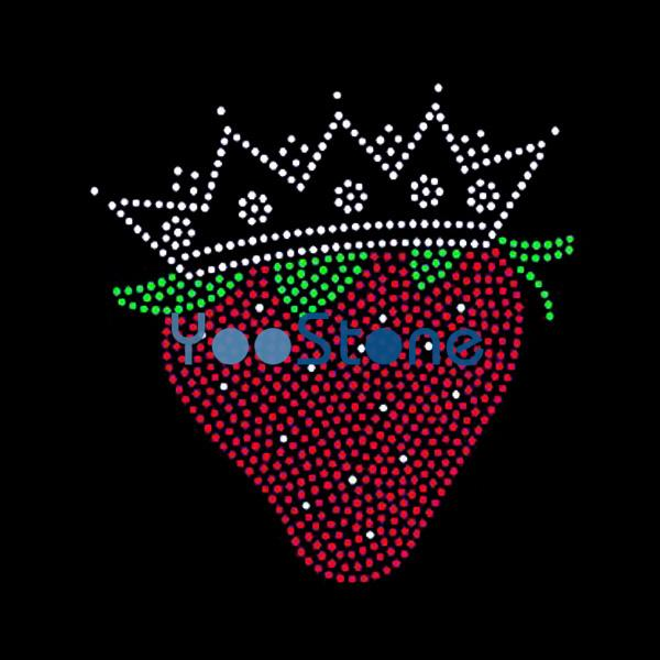 Hot Sale Crown And Strawberry Rhinestone Transfer Iron On Hot Fix Applique For Garment