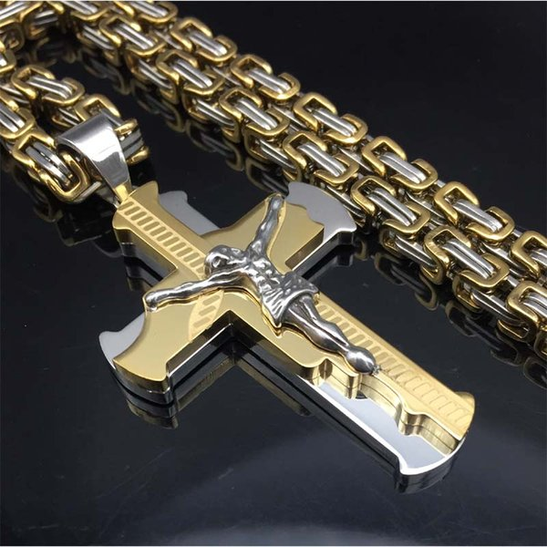 Jesus Cross Pendant Necklace Stainless Steel Men Jewelry Byzantine Link Chain Poplular Christian Colar Sliver Gold Color