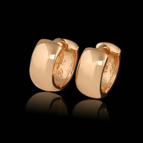 (302E) (Precio especial) Pendientes de aro liso (15x6 mm) Mujeres llenas de oro de 18 k No hay piedra para siempre Estilo clásico