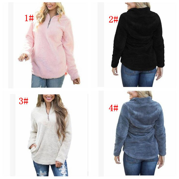 best selling Women Sherpa Jacket Hooded Coat Warm Outwear Women's Clothing Half Zipper Pullover Sweatshirt Hip Hop Streetwear LJJK831