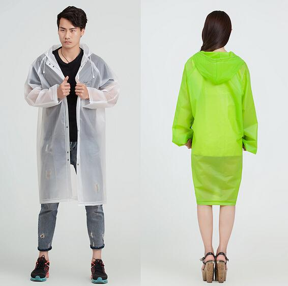 Raincoat Men Women 'S Trench Coat Long Hooded Rain Coat Poncho Jacket Eva Transparent Chubasqueros Impermeables Mujer ,Green