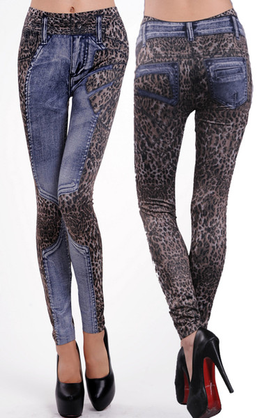 One size Women's Leopard Print Fake Jeans Seamless Skinny Leggings Tight Pants HY9068BE