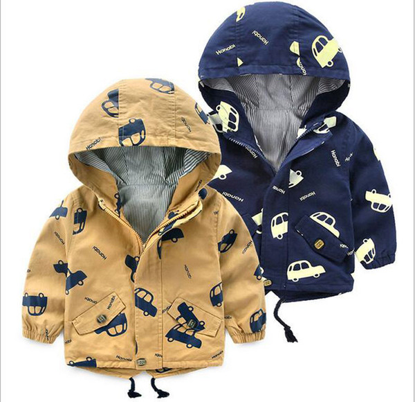 50pcs 2017 Boy Outwear Coat Hooded 2colors Cotton Long Sleeve o-neck children Casual Top 3-8years old spring and autumn