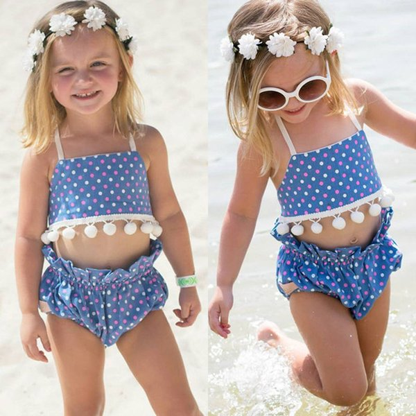 803ad8916c 2019 Baby Summer Bikini Bathing Suit Toddlers Girl Swimsuit Ruffles Navy  Tops Striped Bottom Swimsuit Off Shoulder Swimwear Factory Killing Price  From ...