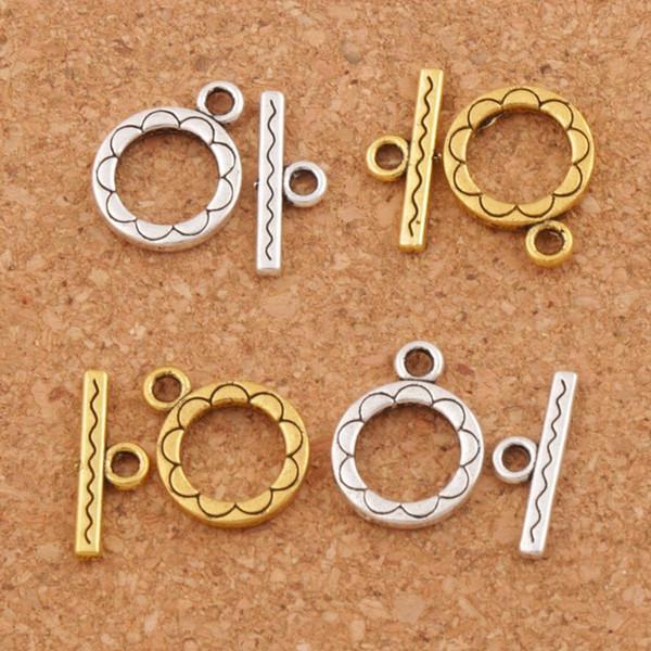 Fleur ronde Bracelet fermoir à bascule 200 ensembles / lot Argent Antique / Or Résultats de bijoux L831 Nouvelle vente chaude