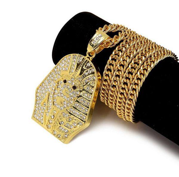 Лучшие продажи Моды хип-хоп мужские высокое качество 24K позолоченные из нержавеющей стали мужские Последний король Фараон подвески ожерелья комплект ювелирных изделий