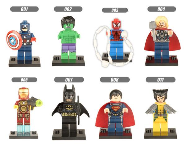 DHL 60sets Mini Super Heroes figure Hulk Batman Spiderman Wolverine Deadpool Robin Iron Man Thor Building Blocks Toys