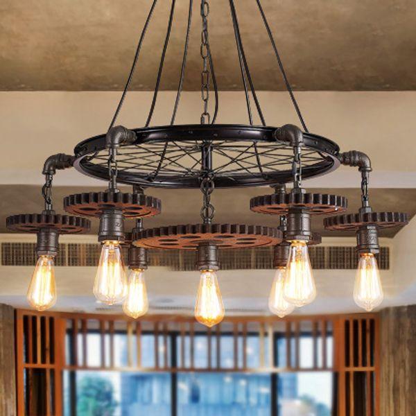 Pendant lighting creative gear chandelier personalized retro American style industrial iron chandeliers theme restaurant loft cafe club bar
