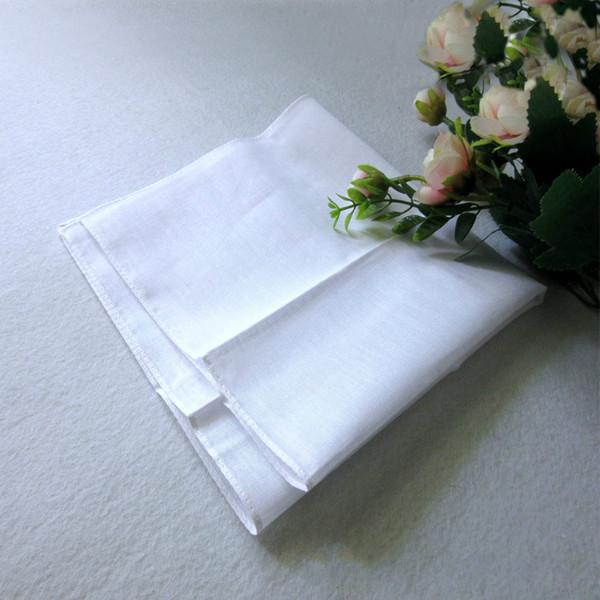 top popular Wholesale white handkerchief, pure white handkerchief, pure color small square, cotton sweat towel, plain handkerchief,free shipping 2019