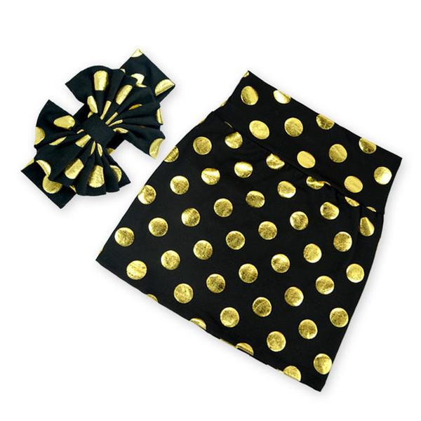 new product 630f1 0e55d Großhandel Gold Mädchen Röcke Bleistift Baby Mädchen Rock Set Schwarz Gold  Tupfen Mädchen Rock Bogen Stirnband Set Von Stellababyclothes, $66.34 Auf  ...