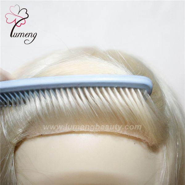 Alibaba express personnalisé mono avec toupet blonde femme PU cheveux humains