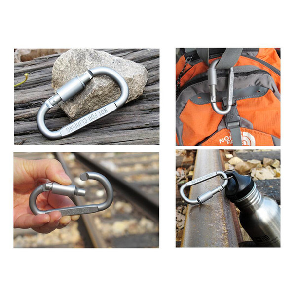 2017 Wholesale Outdoor 8cm D-ring Aluminum Fast Hanging Carabiner Key Clip Hook Keychain with Lock Key