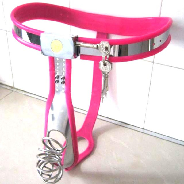 1 sets Male Fully Adjustable Curve-T Stainless Steel Premium Chastity Belt with Jail House Cage PINK color