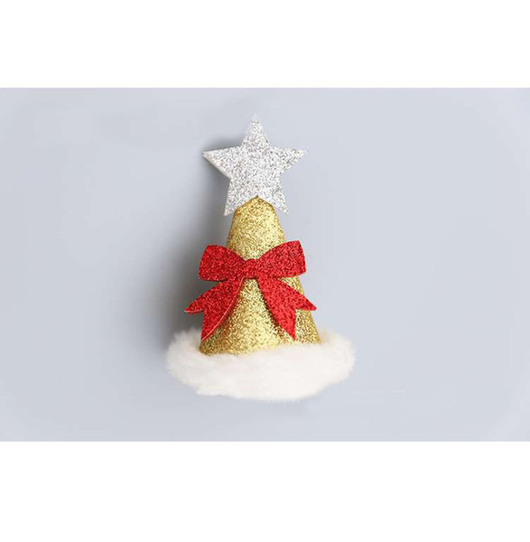 Gold Glitter Christmas Santa Hat Hair Clips Hair Pins for Baby Cute Kid's Hat New Year Party Hair Accessories