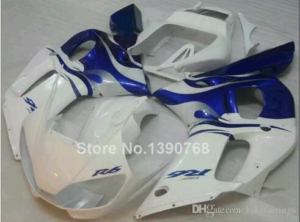 3 nouveaux kits de carénage en ABS 100% ajustement pour YAMAHA YZF R6 YZF600 98 99 00 01 02 YZF 600 YZFR6 1998 1999 2000 2001 2002 bleu blanc