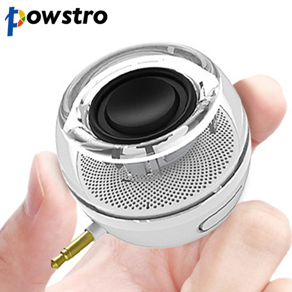 Wholesale- powstro Mini Smartphone 3.5mm Aux Speaker Rechargeable Compact Loudspeaker Powerful Clear Bass Plug And Play for iPhone iPad S
