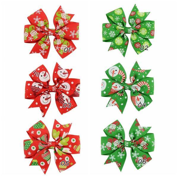 24 Pcs Girl 3 Inch Christmas Ribbon Bows Hairpin Snowman Snowflake Gloves Pattern Pinwheel Hair Clips Beautiful HuiLin C59